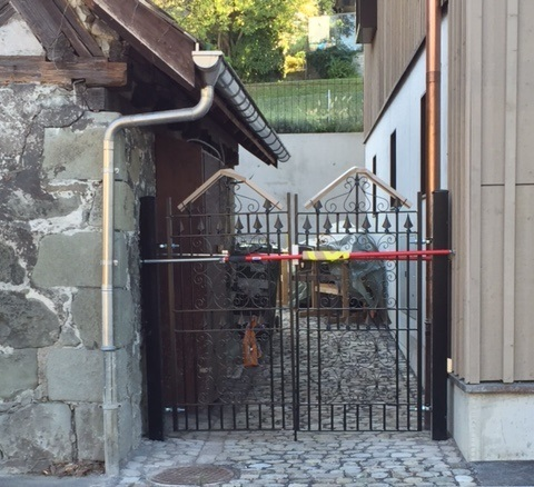 Double metal gates with decorative elements installed in Switzerland