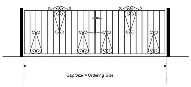 Measuring driveway gates between existing pillars