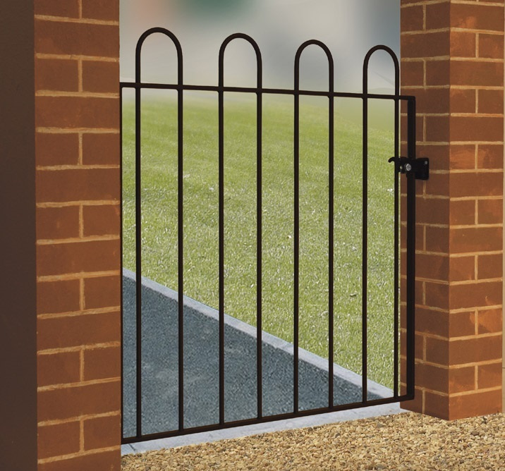Hoop top metal gates for the garden are designed with safety of the user in mind