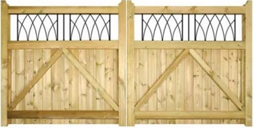 Rear view of the Windsor double wooden gates