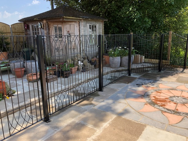 Abbey metal fence panels with bolt down posts