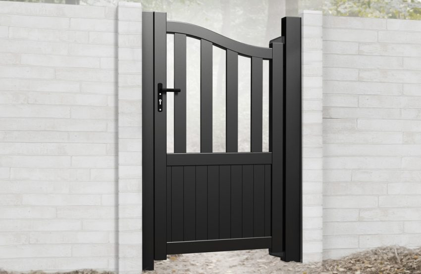 Vertical board modern aluminium pedestrian garden gate with bell top and large open pales