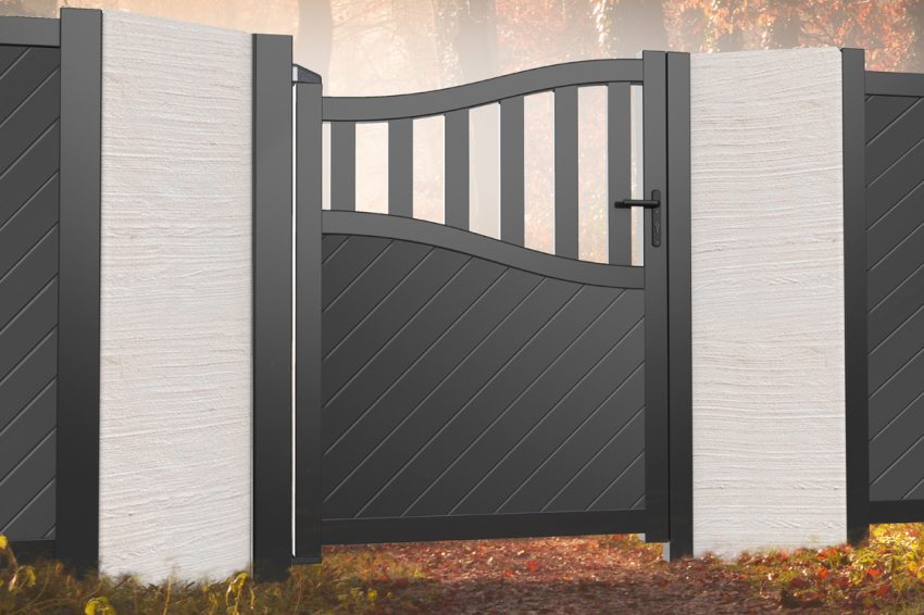 Diagonal board modern aluminium pedestrian garden gate with bell top and open pales