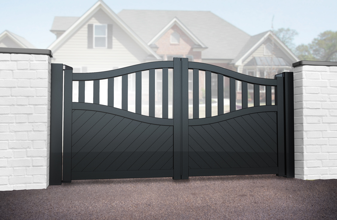 Diagonal Boarded Aluminium Driveway Gates with Arched Top & Open Pales