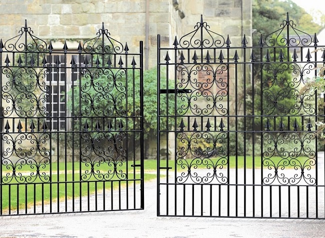 Royal monarch wrought iron double gates