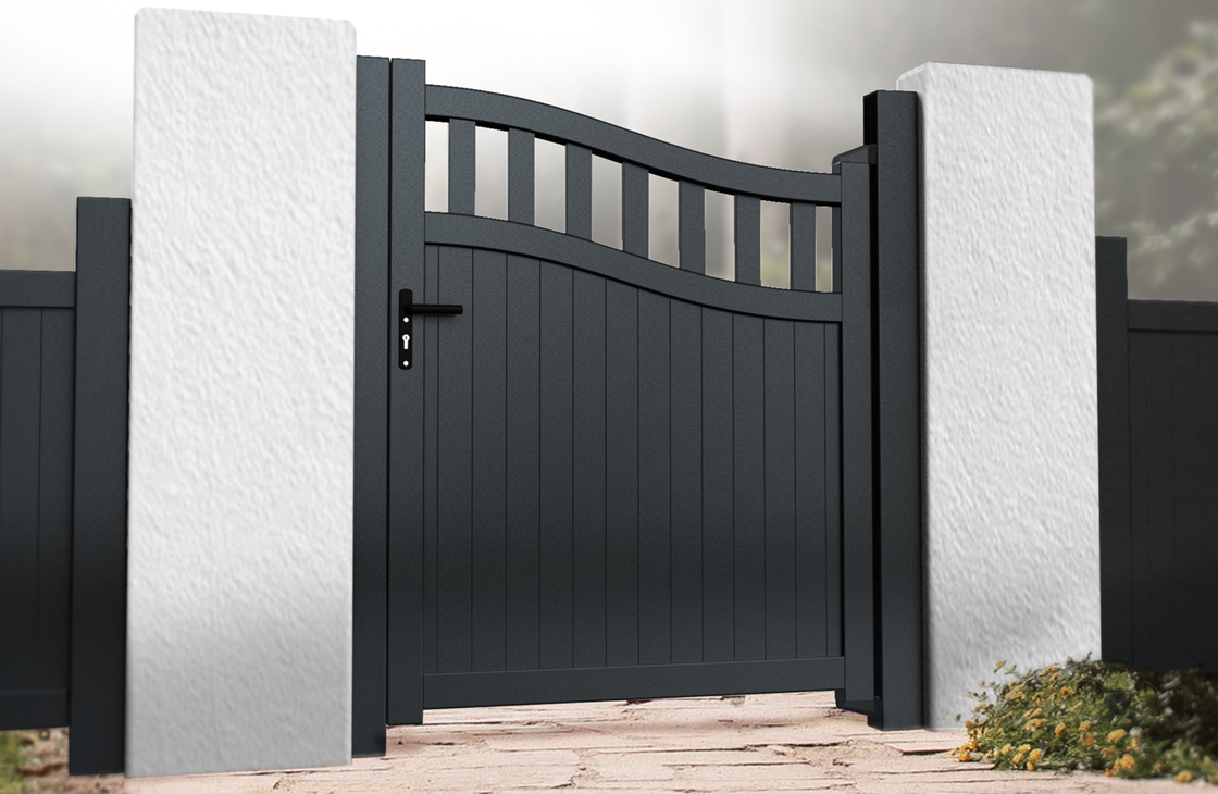 Vertical board modern aluminium pedestrian garden gate with bell top and open pales