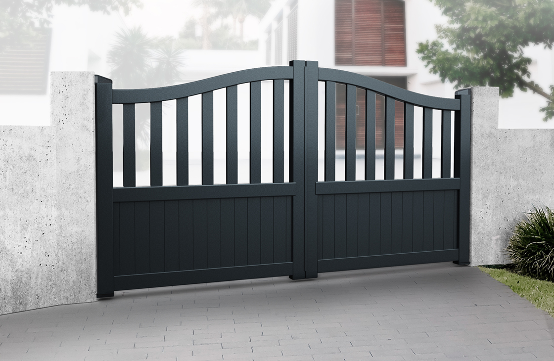 Vertical Boarded Aluminium Driveway Gates with Arched Top & Large Open Pales