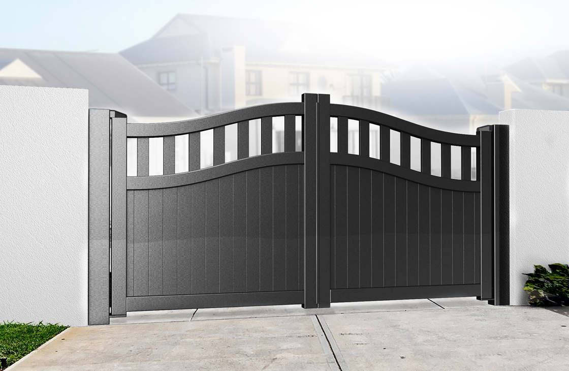Vertical Boarded Aluminium Driveway Gates with Arched Top & Open Pales