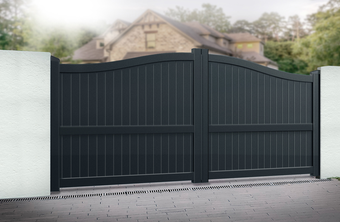 Vertical Boarded Aluminium Driveway Gates with Arched Top