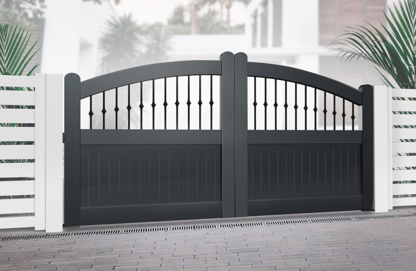 Vertical Boarded Aluminium Driveway Gates with Arched Top & Decorative Bars