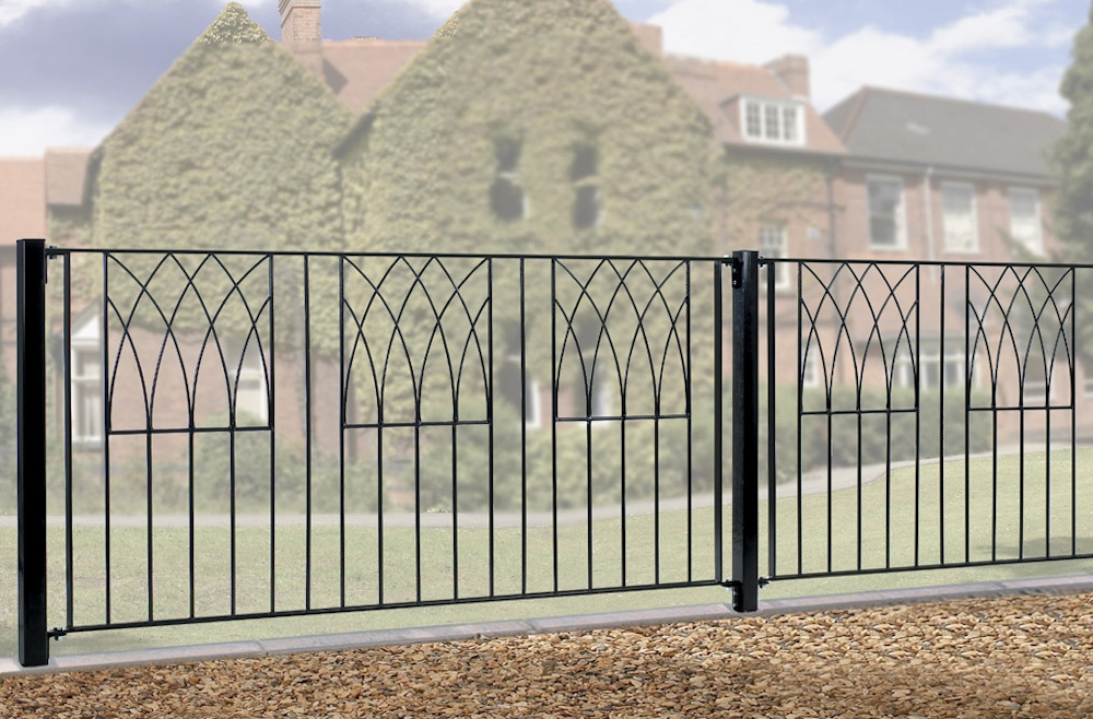 Abbey Wrought Iron Style Metal Garden Fence Panels
