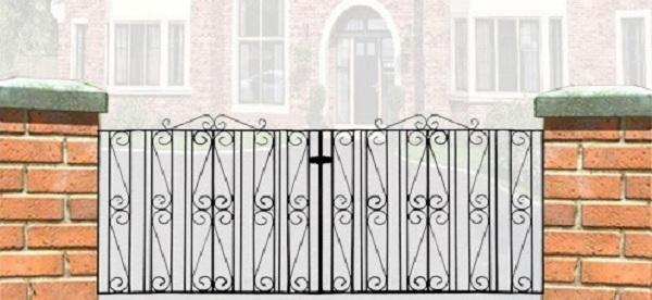 Buckingham Wrought Iron Style Double Metal Driveway Gates | 3ft High