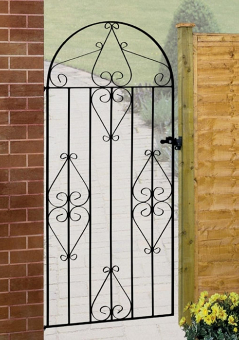 Classic Bow Top Wrought Iron Style Metal Side Gate