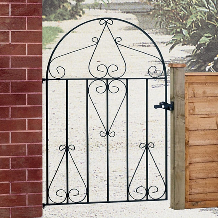 Classic Bow Top Wrought Iron Style Metal Garden Gate
