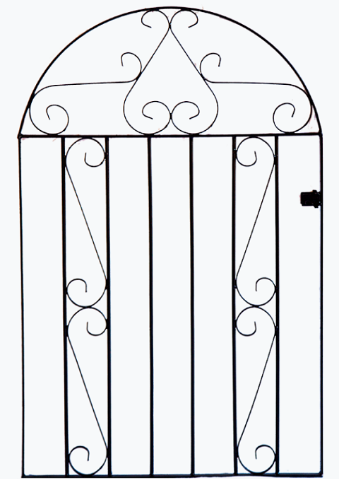 Clifton Arched Wrought Iron Style Metal Garden Gate - 4ft High