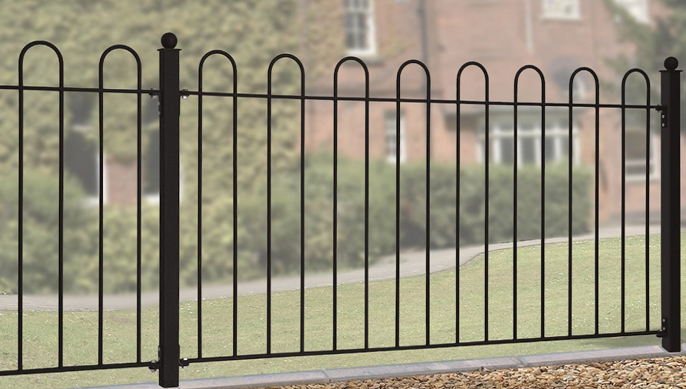Court Wrought Iron Style Metal Garden Fence Panels