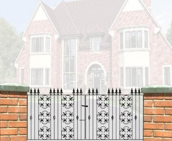 Cromwell Wrought Iron Style Double Metal Driveway Gates | 3ft High
