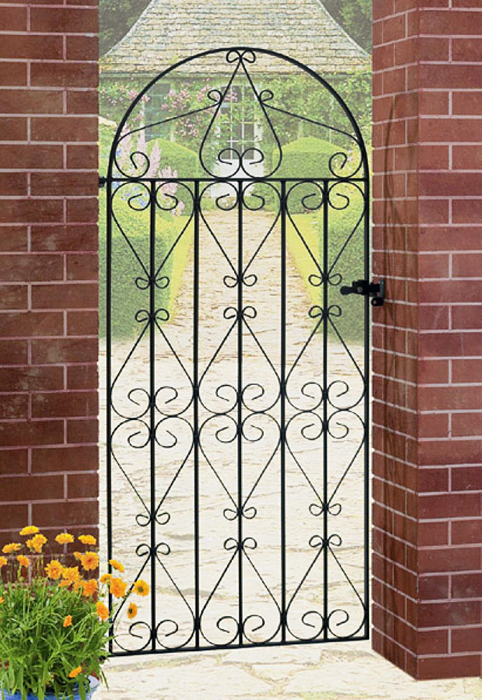Regent Bow Top Wrought Iron Style Metal Side Gate