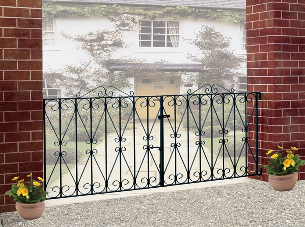 Regent Wrought Iron Style Double Metal Driveway Gates | 3ft High