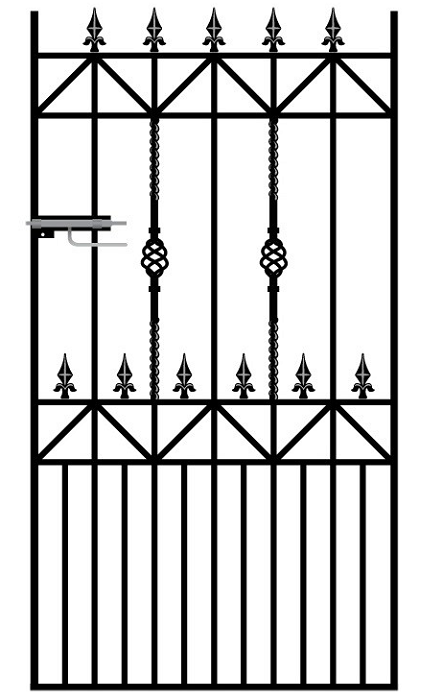 Royale Ascot Wrought Iron Style Metal Side Gate