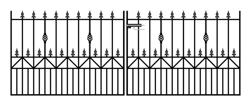 Royale Ascot Wrought Iron Style Double Metal Driveway Gates | 4ft High